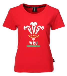 Ladies Official WRU Glitter Print T Shirt