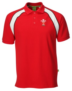 Mens Official WRU Welsh Rugby Contrast Polo Shirt