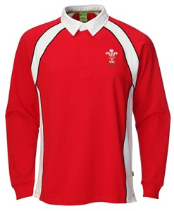 Mens Official WRU Long Sleeve Rugby Shirt