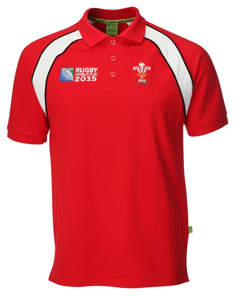 Mens Official RWC 2015 Welsh Rugby Contrast Polo Shirt