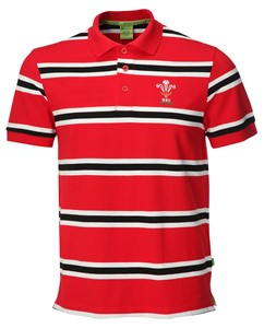 Mens Official WRU Welsh Rugby Stripe Polo Shirt