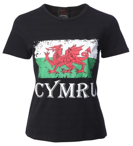Ladies Distressed Cymru Flag Skinni T-Shirt