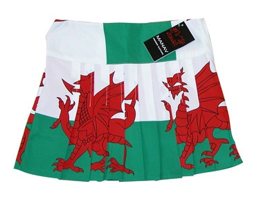 Girls Welsh Flag Kilt Skirt