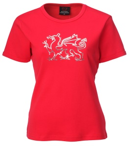 Ladies Welsh Sequin Dragon Skinni T-Shirt