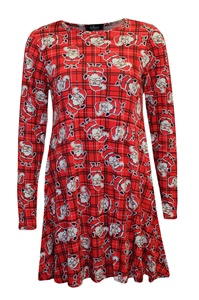 Ladies Christmas Swing Dress - Tartan Santa