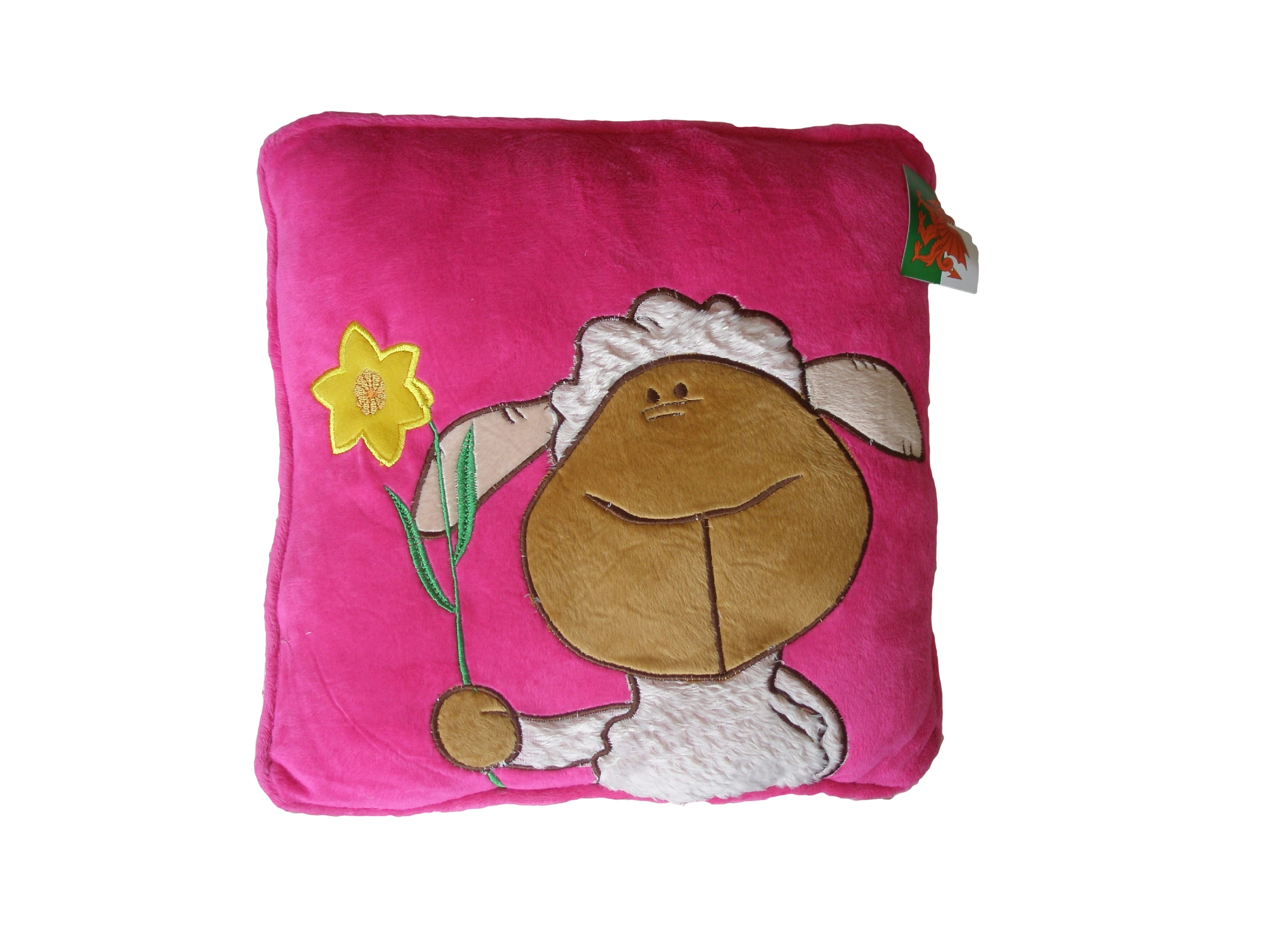 Welsh / Sheep / Daffodil Pink Plush Cushion