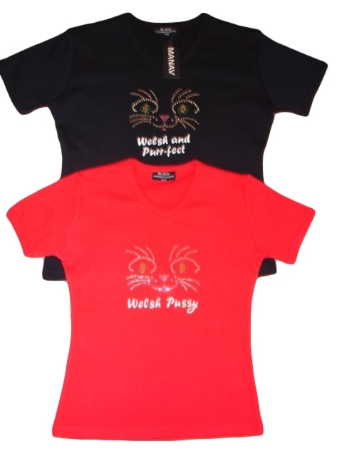 Ladies Welsh Pussy Diamonte Skinni T-Shirt
