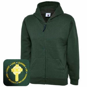 St Michael's Primary Green Zipped Hoodie