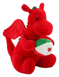 Large Dragon Plush with Rugby Ball