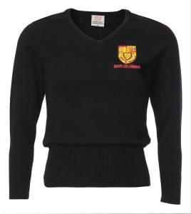 Bryn Celynog Comprehensive Girls Black V Neck Jumper