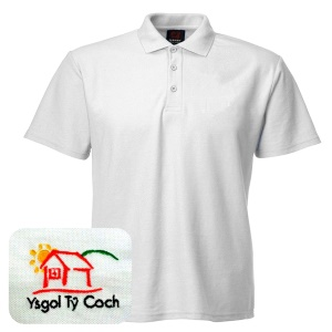 Ty Coch *SECONDARY & POST-16* White Polo Shirt