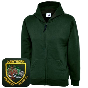 Hawthorn Primary Bottle Green Zipped Hoodie