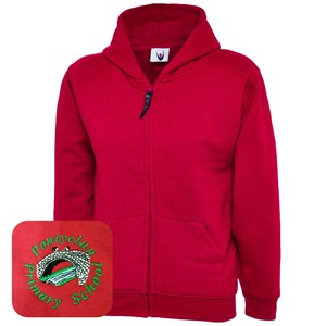 Pontyclun Primary Red Zipped Hoodie