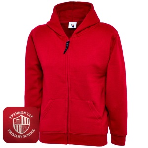 Ffynnon Taf Primary Red Zipped Hoodie