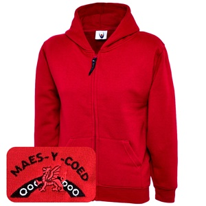 Maes-y-coed Primary Red Zipped Hoodie
