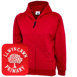 Llwyncrwn Primary Red Zipped Hoodie