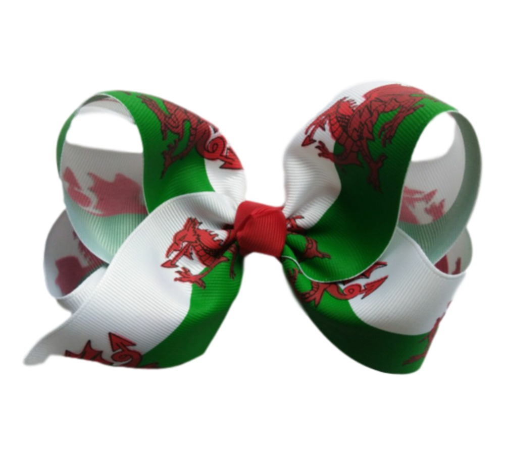 Hareena Hair Bow- Welsh Flag