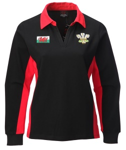 Ladies New Contrast Long Sleeve Rugby Shirt