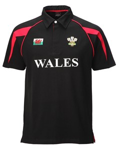 Black Poly Style 'WALES' Cotton Rugby Shirt