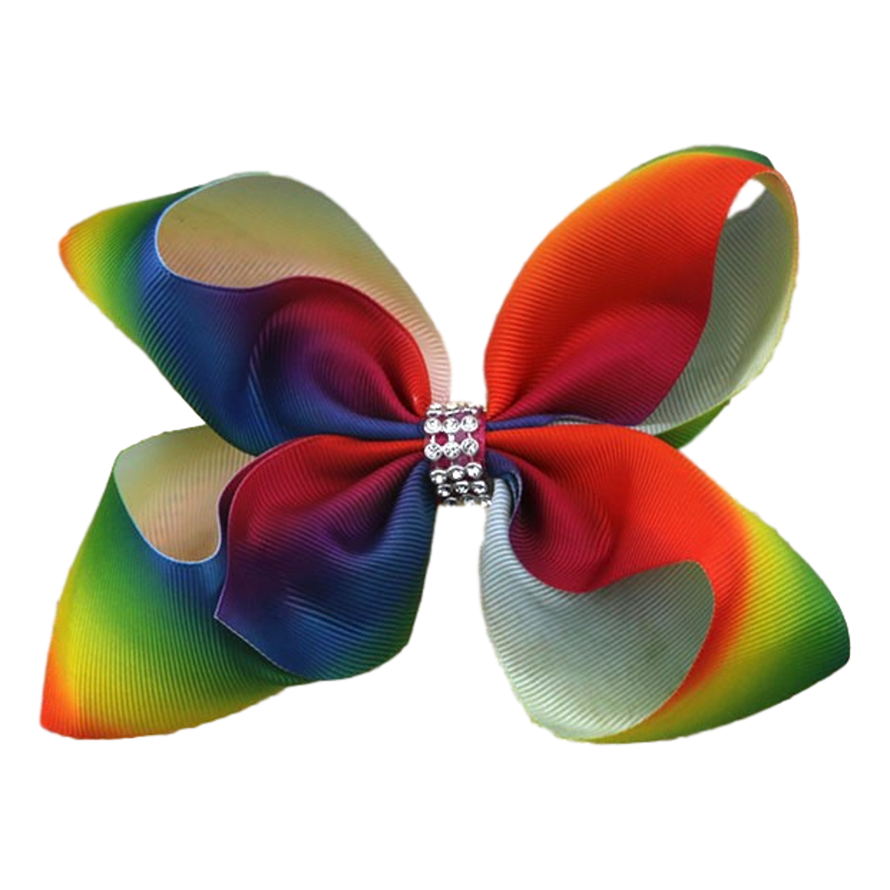 Hareena Hair Bow- Rhinestone Rainbow
