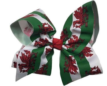 Hareena Hair Bow- Large- Welsh Flag Design