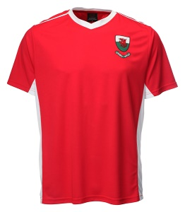 Kids Welsh 'Bale' Red V Neck Football Shirt