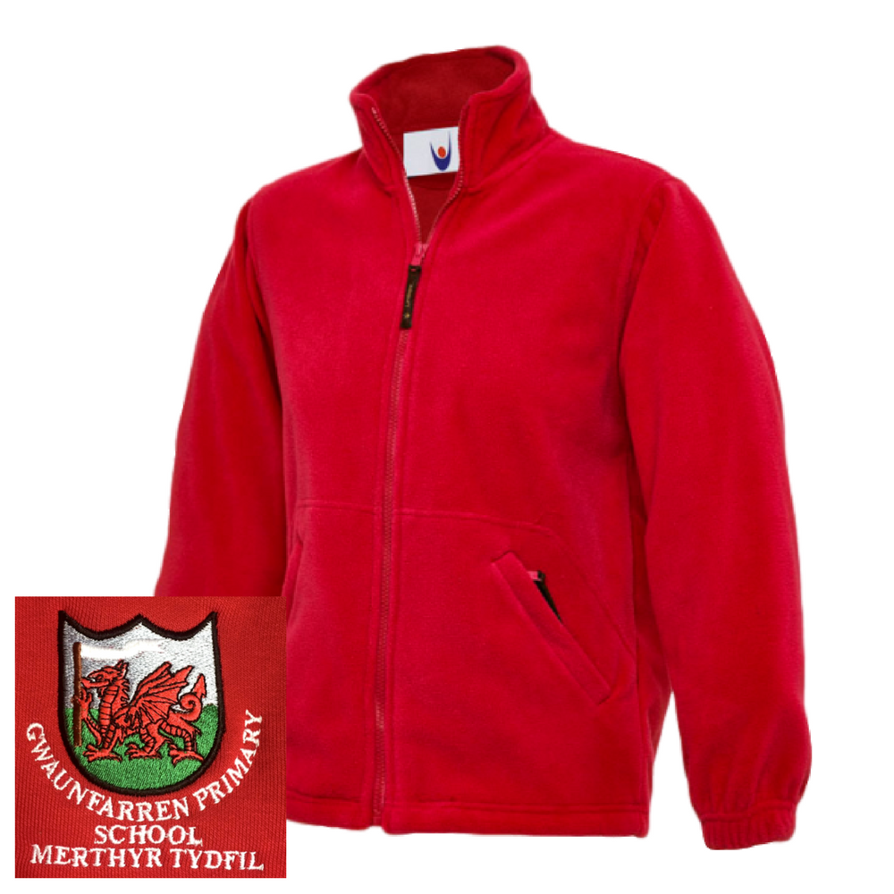 Gwaunfarren Primary School Red Fleece Jacket