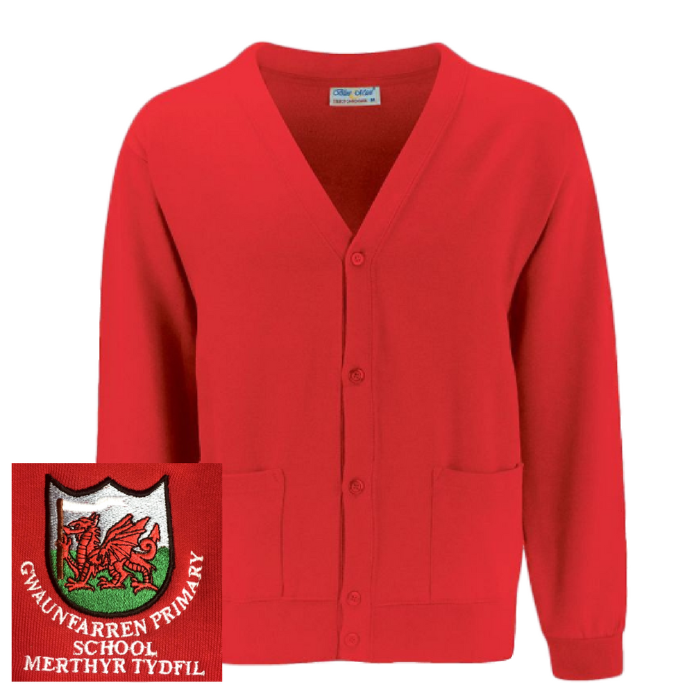 Gwaunfarren Primary School Red Cardigan