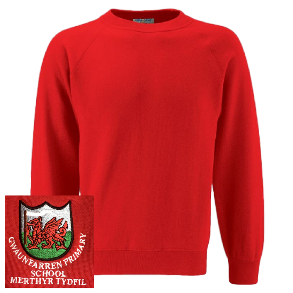 Gwaunfarren Primary School Red Sweatshirt