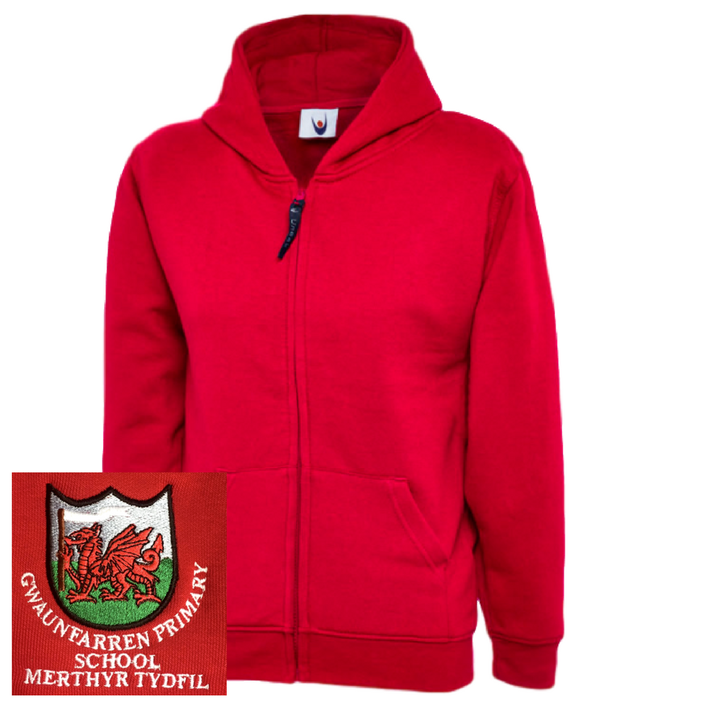 Gwaunfarren Primary School Red Zipped Hoodie