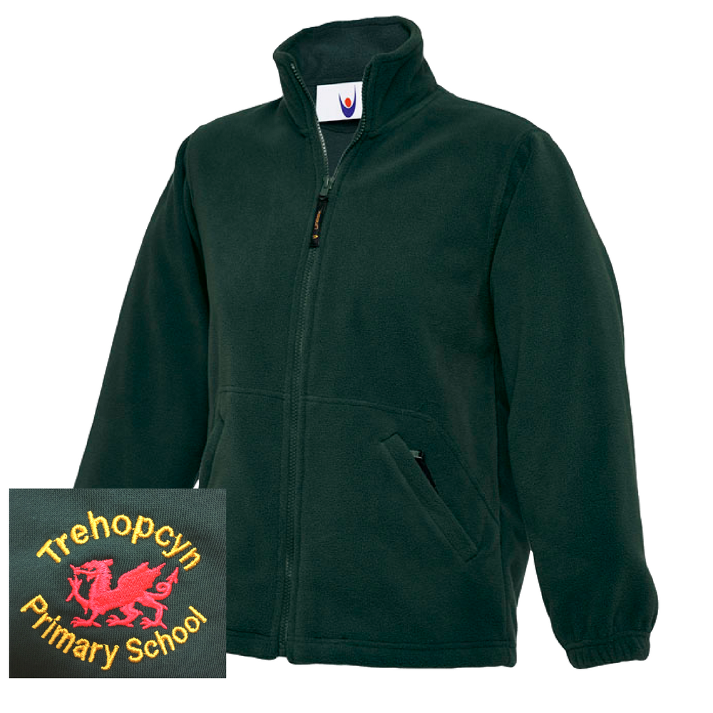 Trehopcyn Primary Bottle Green Fleece Jacket