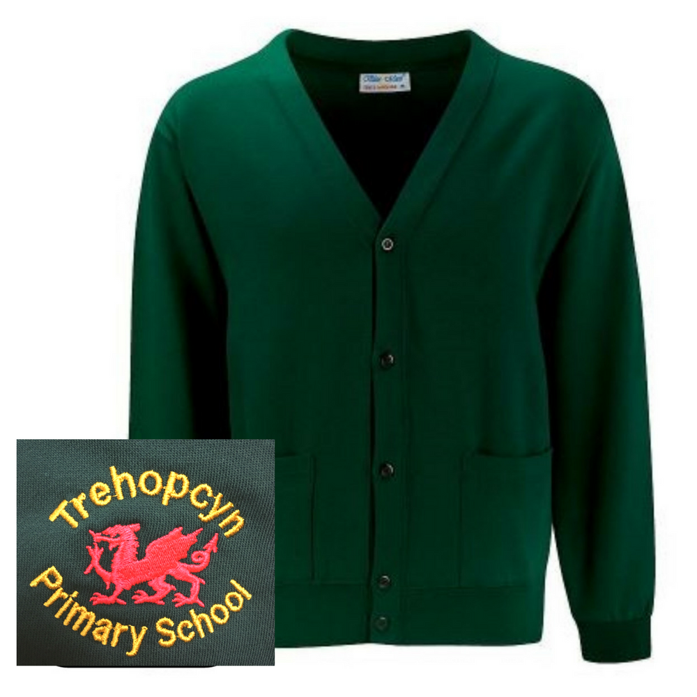 Trehopcyn Primary Bottle Green Fleece Cardigan