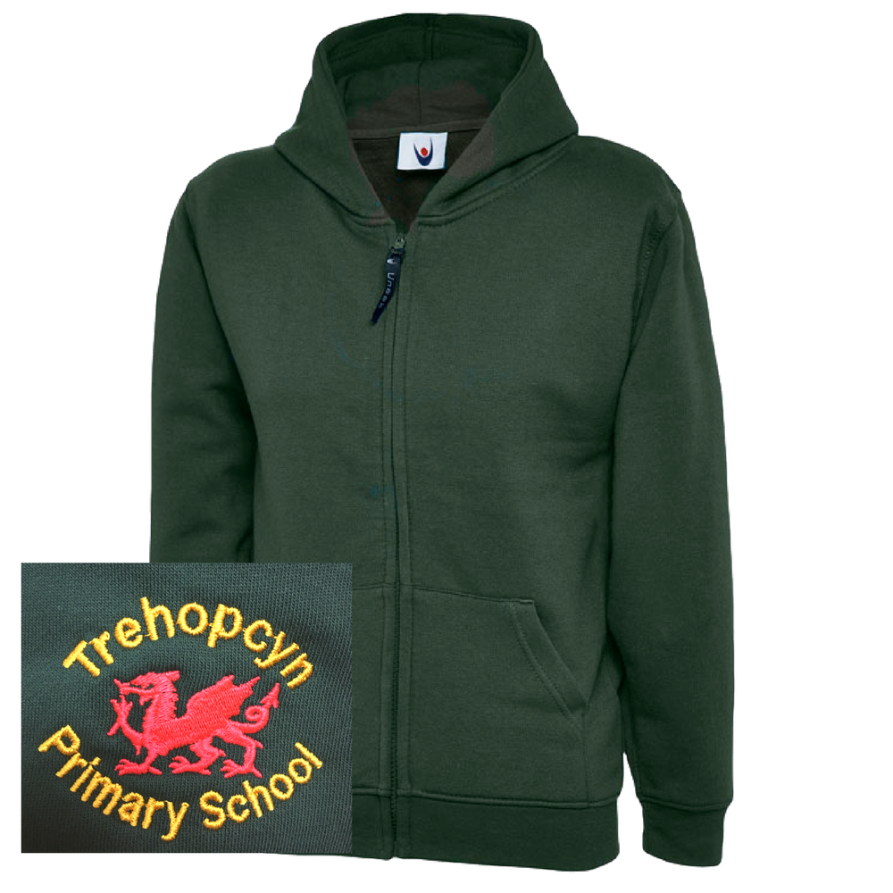 Trehopcyn Primary Bottle Green Zipped Hoodie