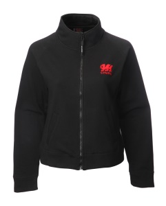 Ladies Welsh Black Zipped Sweatshirt