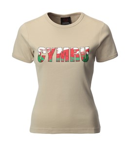 Ladies 3D Cymru Printed Skinni Fit T-Shirt