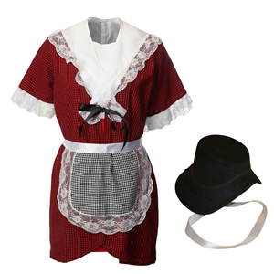 Girls Traditional Welsh Costume & Cockle Bonnet
