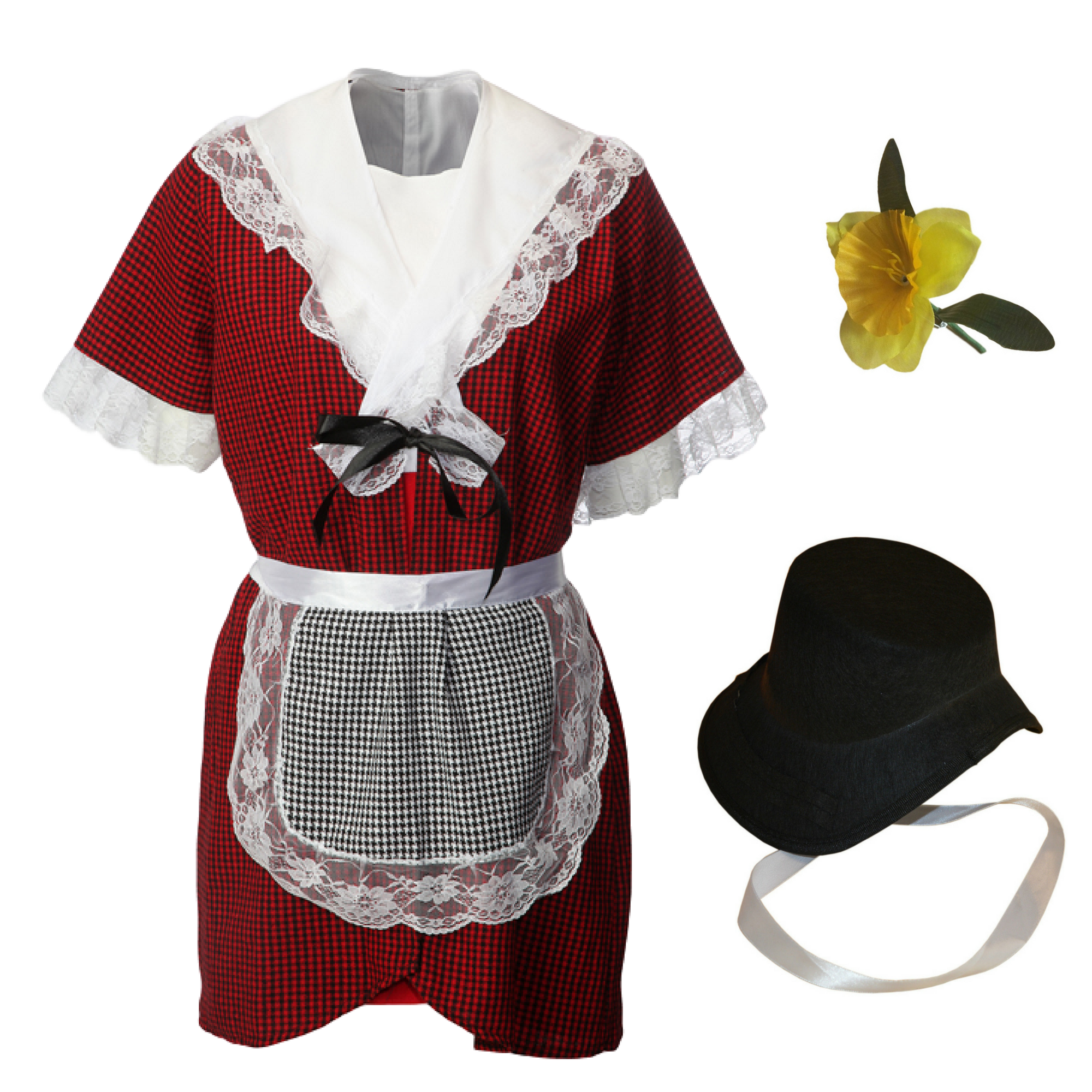 Girls Traditional Welsh Costume & Cockle Bonnet & Daffodil Pin