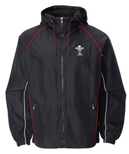 Childrens Official WRU Welsh Black Waterproof Jacket