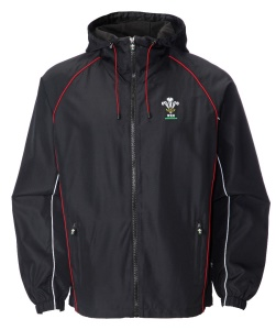 Mens Official WRU Welsh Black Waterproof Jacket