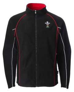 Mens Official WRU Welsh Black Full Zip Fleece