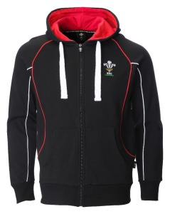 Mens Official WRU Welsh Black Zip Rugby Hoodie