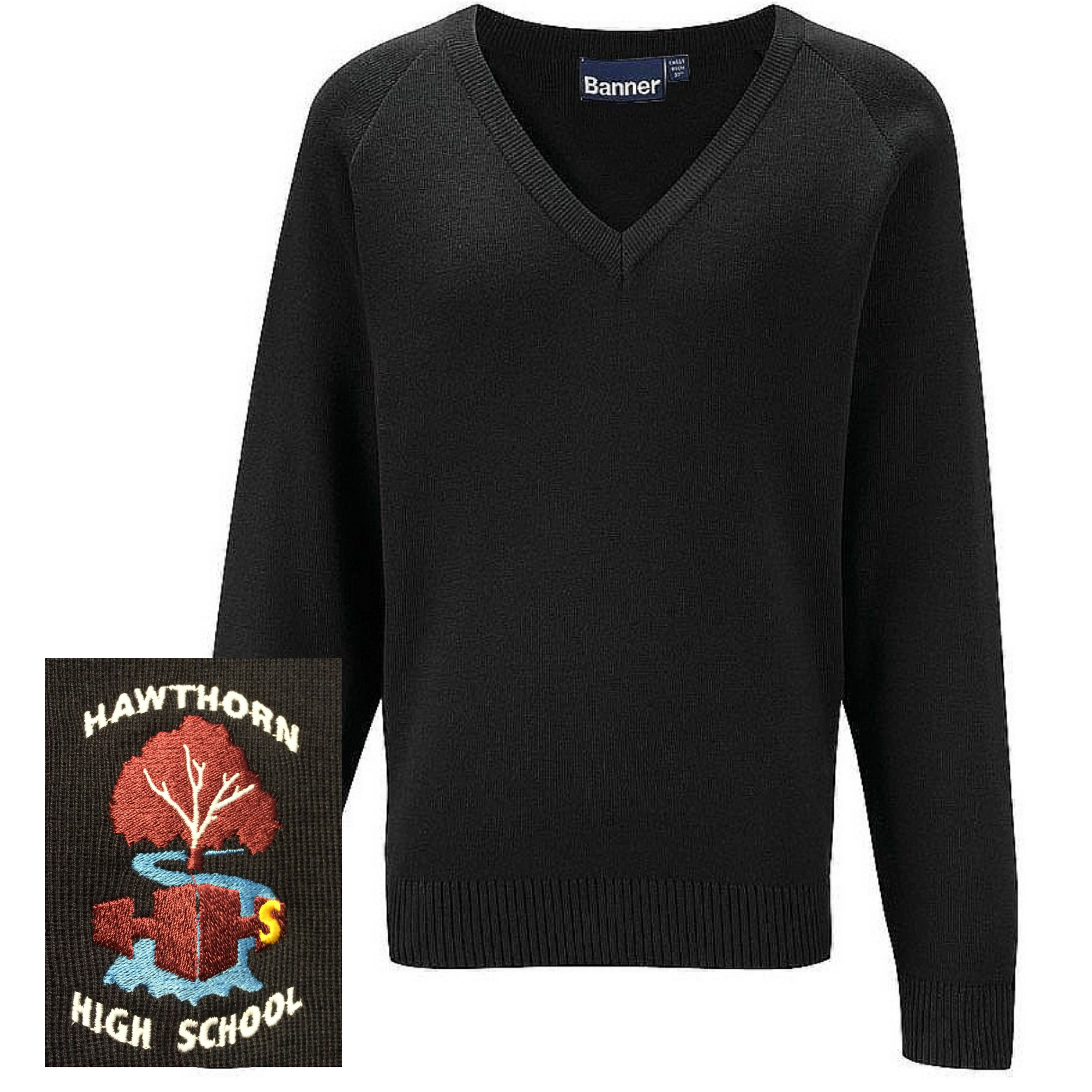 Hawthorn High School Black Unisex V-Neck Jumper (Yr 9-11)
