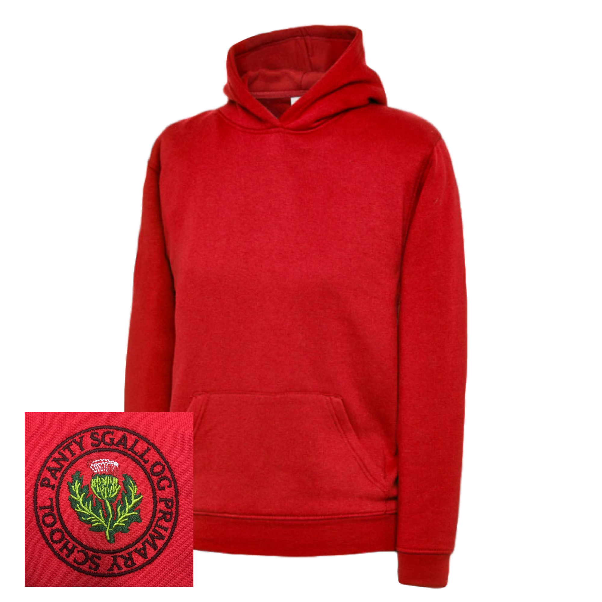 Pantysgallog Primary Red Overhead Hoodie