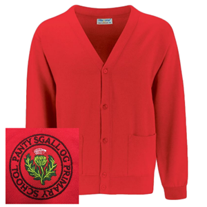 Pantysgallog Primary Red Cardigan