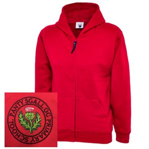 Pantysgallog Primary Red Zipped Hoodie