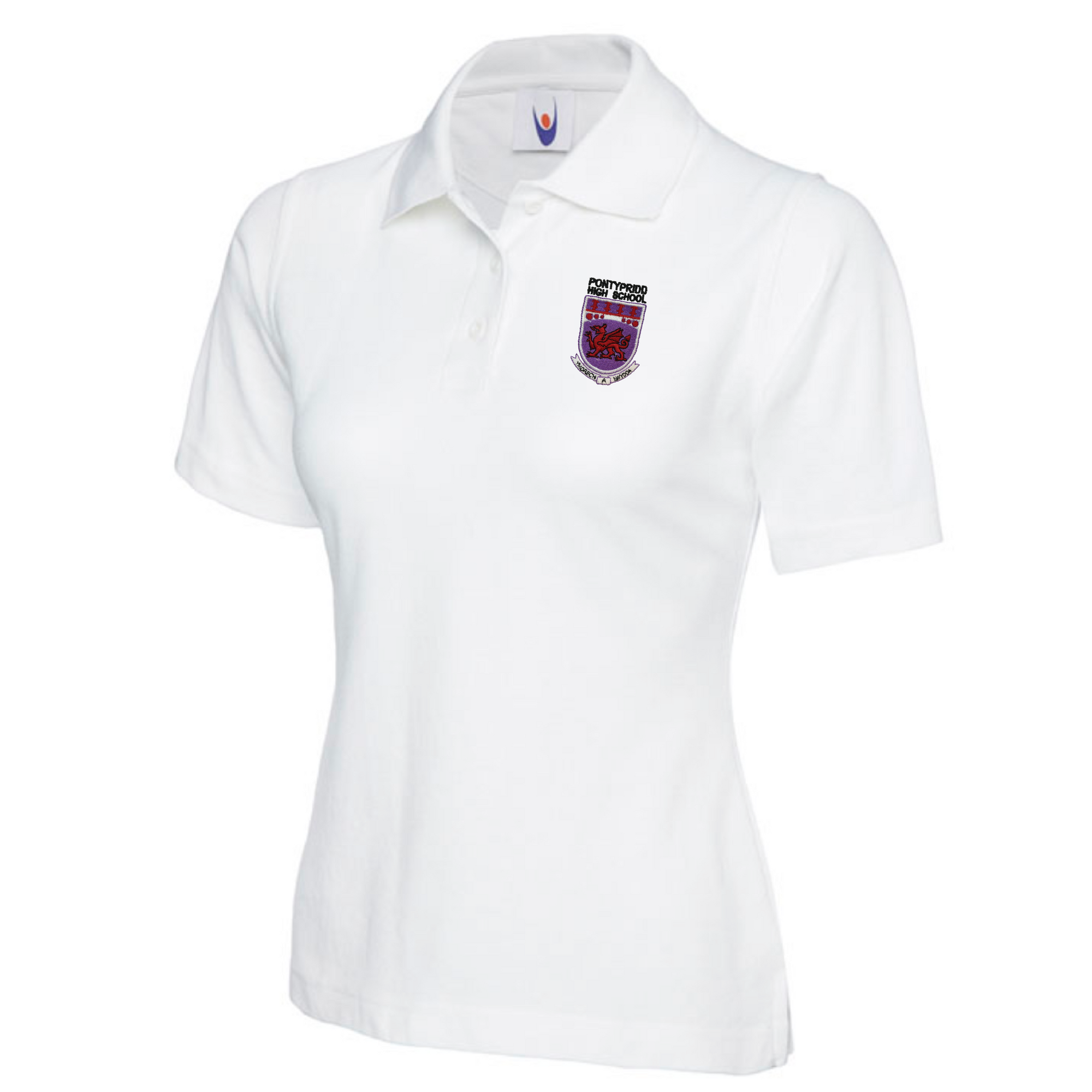 Pontypridd High School Girls Cut White Polo Shirt