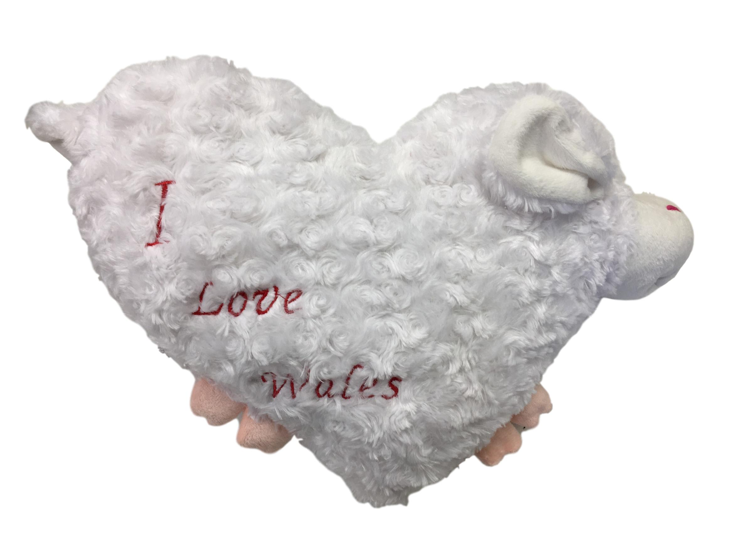 Sheep 'I Love Wales' Heart Cushion