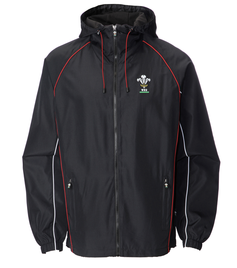 Ladies Official WRU Welsh Black Waterproof Jacket