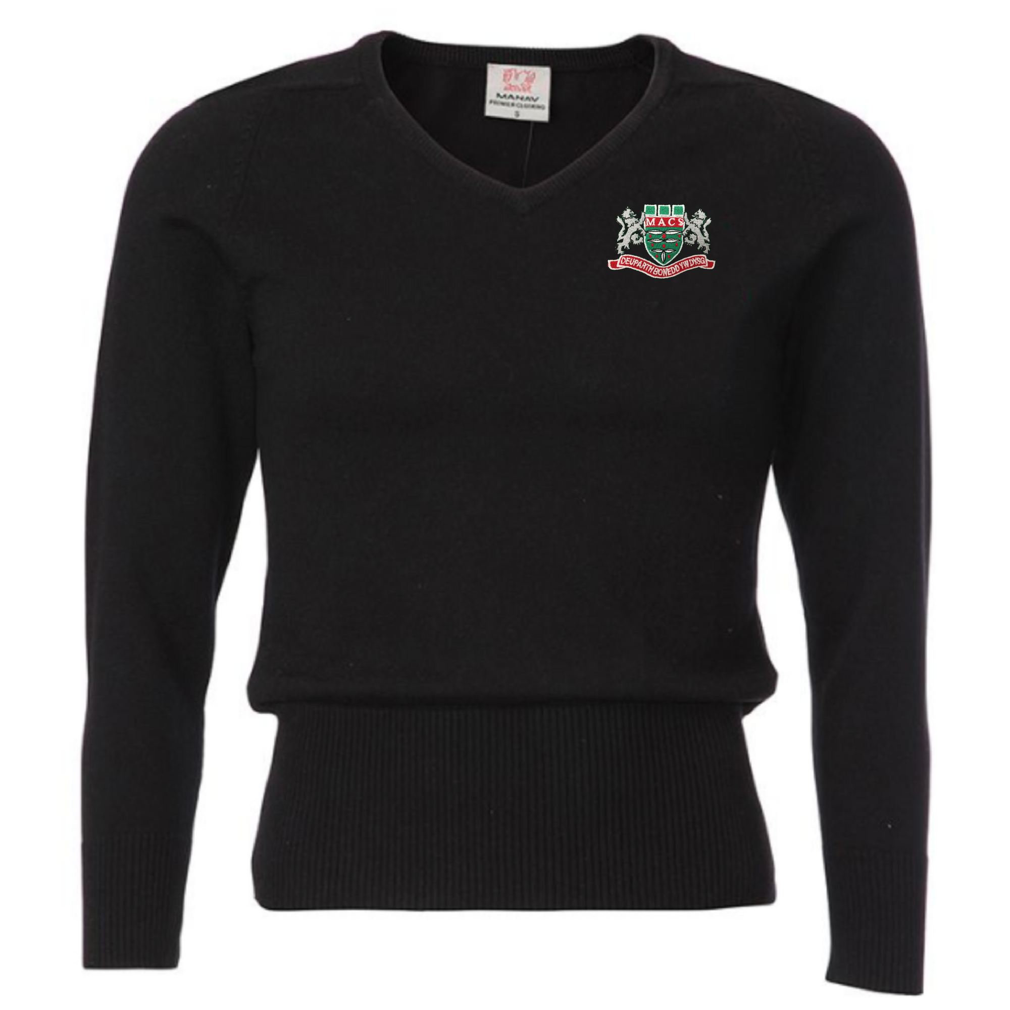 Mountain Ash Comprehensive School Girls V Neck Black Knit Jumper